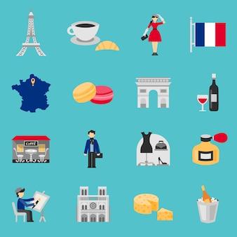 Frankrijk iconen vlakke set