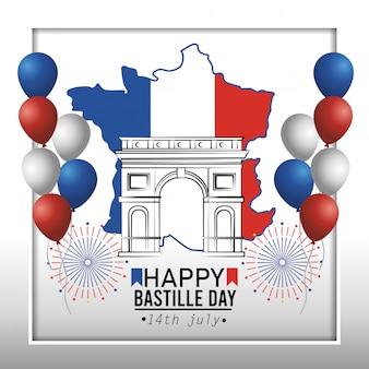 Frankrijk kaart met champs elyses en ballonnen