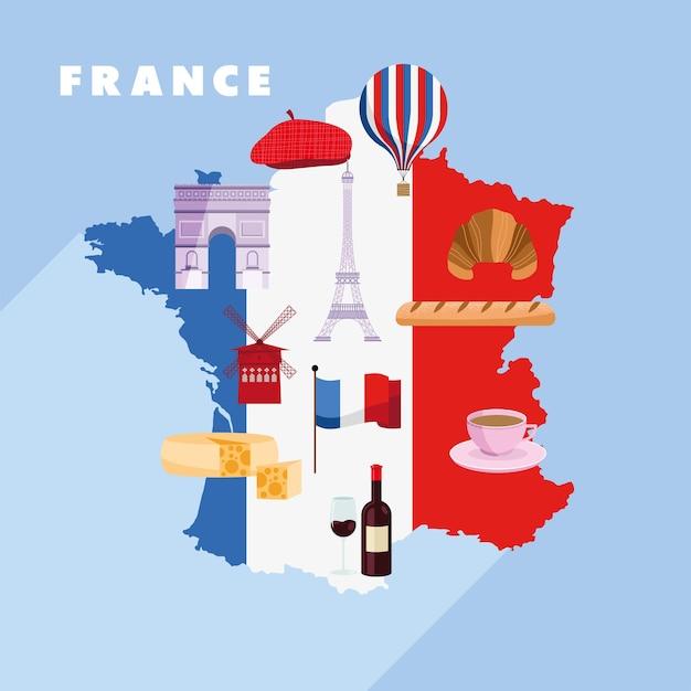 Frankrijk kaart met pictogrammen