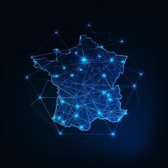 Frankrijk kaart omtrek met sterren en lijnen abstract kader.