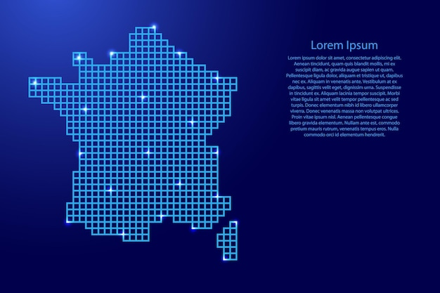 Frankrijk kaart silhouet van blauwe mozaïek structuur pleinen en gloeiende sterren. vector illustratie.