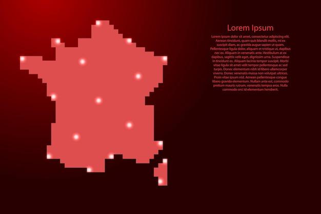 Frankrijk kaart silhouet van rode vierkante pixels en gloeiende sterren. vector illustratie.