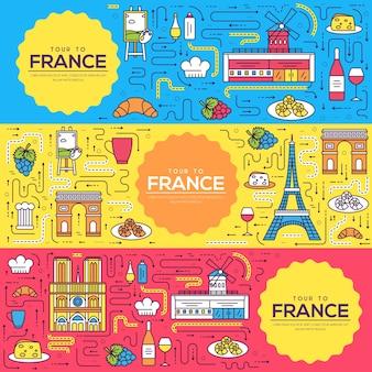 Frankrijk kaarten dunne lijn instellen illustratie