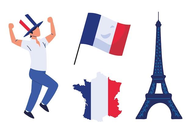 Frankrijk man vlaggen