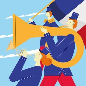 Frankrijk marcherende band muzikanten karakters