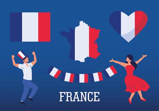 Frankrijk mensen vlaggen kaart hart set