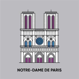 Frankrijk, notre-dame de paris, reisillustratie, vlak pictogram