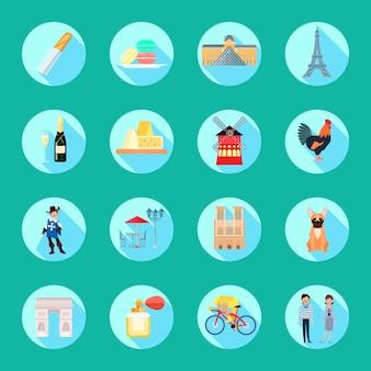 Frankrijk om pictogrammen die met de vlakke geïsoleerde vectorillustratie van sightseeessymbolen worden geplaatst