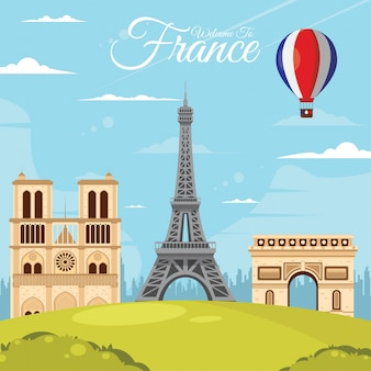 Frankrijk, parijs bezienswaardigheden reizen. vector en illustratie