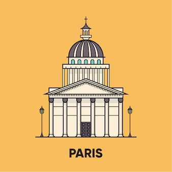 Frankrijk, parijs, pantheon, reizen illustratie, platte pictogram
