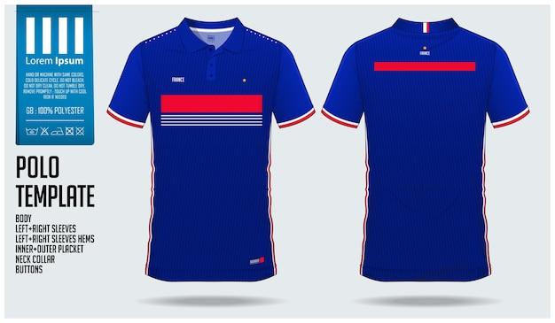 Frankrijk team voetbal polo shirt sport sjabloon