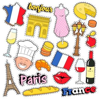 Frankrijk travel scrapbook stickers, patches, badges voor afdrukken met kiss, champagne en franse elementen. komische stijl doodle