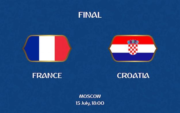 Frankrijk versus kroatië voetbalscorebord uitzending grafische voetbalsjabloon