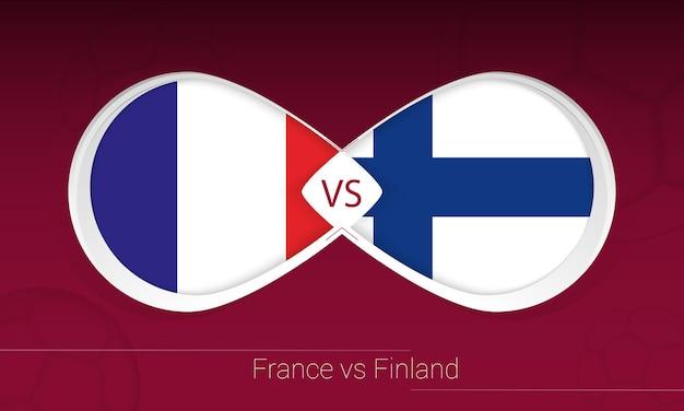 Frankrijk vs finland in voetbalcompetitie, groep d. versus pictogram op voetbal achtergrond.