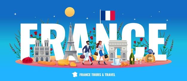 Frankrijk woord illustratie reizen en reizen