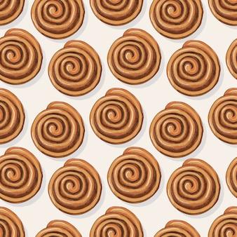 Frans broodje kaneel naadloze patroon in schets, gravure stijl. bakkerij eten