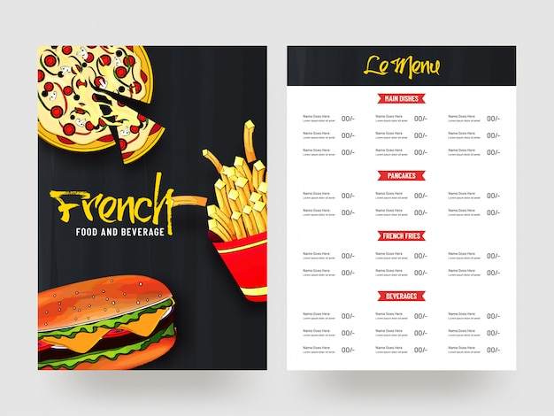 Frans eten en drinken menukaart ontwerp.