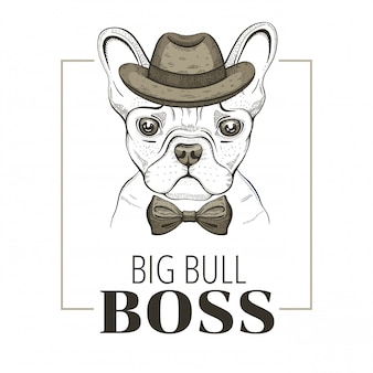 Franse bulldog baas hond. hipster ontwerp. koele dierlijke vector, doodle hand getrokken stijl.