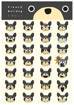 Franse bulldog emoji pictogrammen