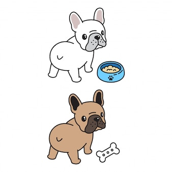 Franse bulldog eten kom bone cartoon