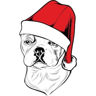 Franse bulldog-hond in kerstmuts voor kerstmis