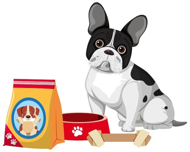 Franse bulldog met hondenvoer en botstuk speelgoed op witte achtergrond