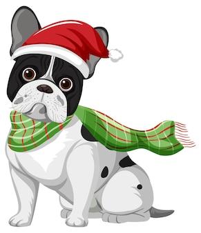 Franse bulldog met kerstmuts stripfiguur
