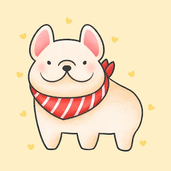 Franse bulldog met rode kraag cartoon hand getrokken stijl