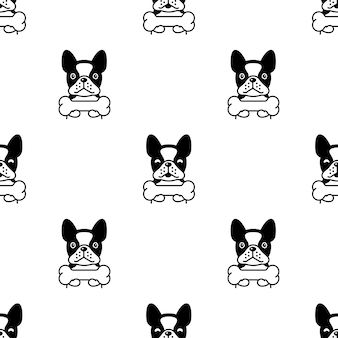 Franse bulldog naadloze patroon bot