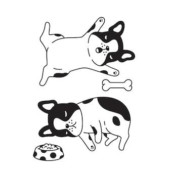 Franse bulldog slapen met been voedsel kom cartoon