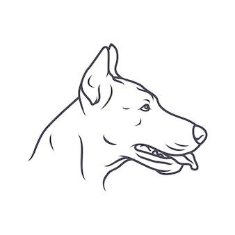 Franse bulldoghond - vectorembleem / pictogramillustratiemascotte