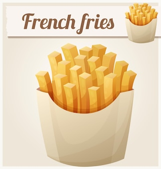 Franse frietjes gedetailleerde vector icon