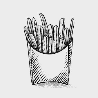 Franse frietjes hand getrokken gravure stijlillustraties