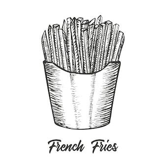 Franse frietjes hand getrokken schets illustratie vector gedetailleerde fastfood pictogram vectorillustratie