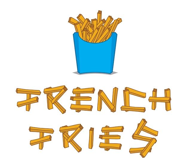 Franse frietjes illustratie en belettering