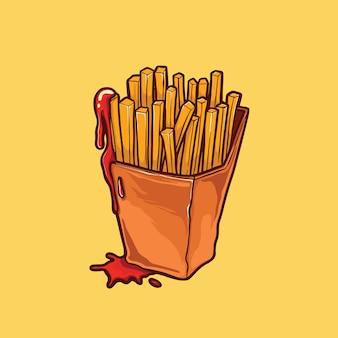 Franse frietjes illustratie