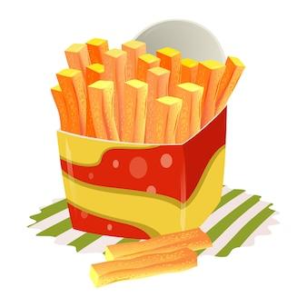 Franse frietjes in papieren beker