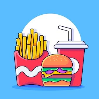 Franse frietjes met hamburger en drankje heerlijk fastfood menu fastfood-pictogram