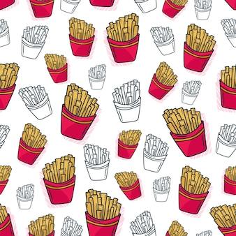 Franse frietjes patroon naadloze achtergrond