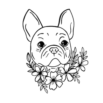 Franse hond svg bulldog svg franse bulldog hond met bloemen hond print