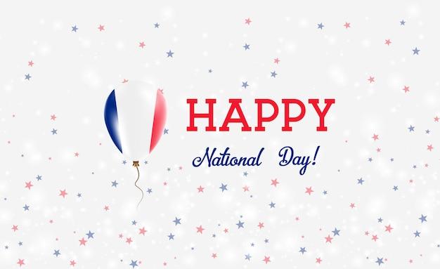 Franse nationale feestdag patriottische poster. vliegende rubberen ballon in de kleuren van de franse vlag. frankrijk nationale feestdag achtergrond met ballon, confetti, sterren, bokeh en sparkles.