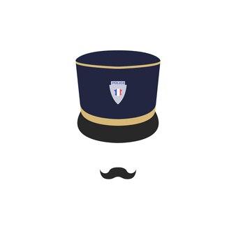 Franse politieagent op witte achtergrond.