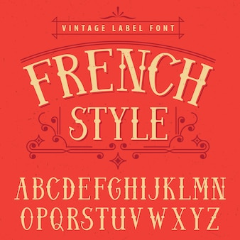 Franse stijl label lettertype poster