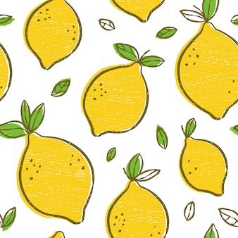 Frash citroenen moderne schoonheid naadloze patroon