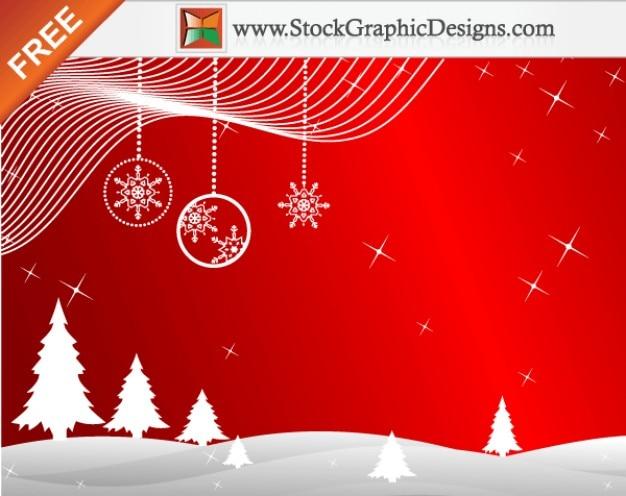 Freebie winter rode achtergrond vector met kerstbomen