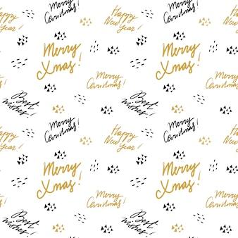 Freehand-lettertypen met kerstwensen patroon