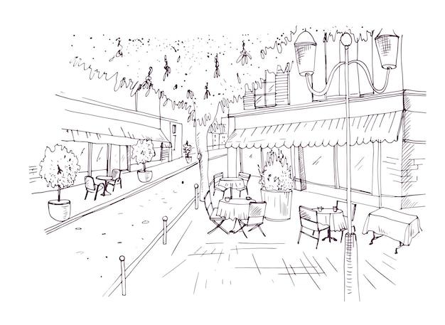 Freehand schets van europees terras of koffiehuis met tafels gedekt door tafelkleden en stoelen staan op straat hand getekend met contourlijnen op witte achtergrond. vector illustratie.