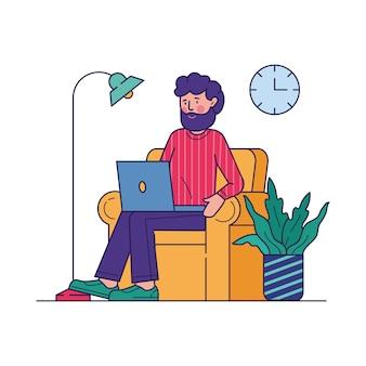 Freelance arbeider die het werk via laptop vectorillustratie doet