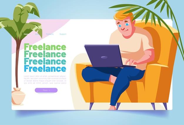 Freelance banner met man werk op laptop