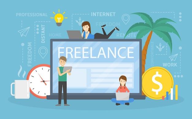 Freelance concept. kleine mensen zitten op de gigantische laptopcomputer en werken op afstand als ontwerpers, kunstenaars enz. platte vectorillustratie